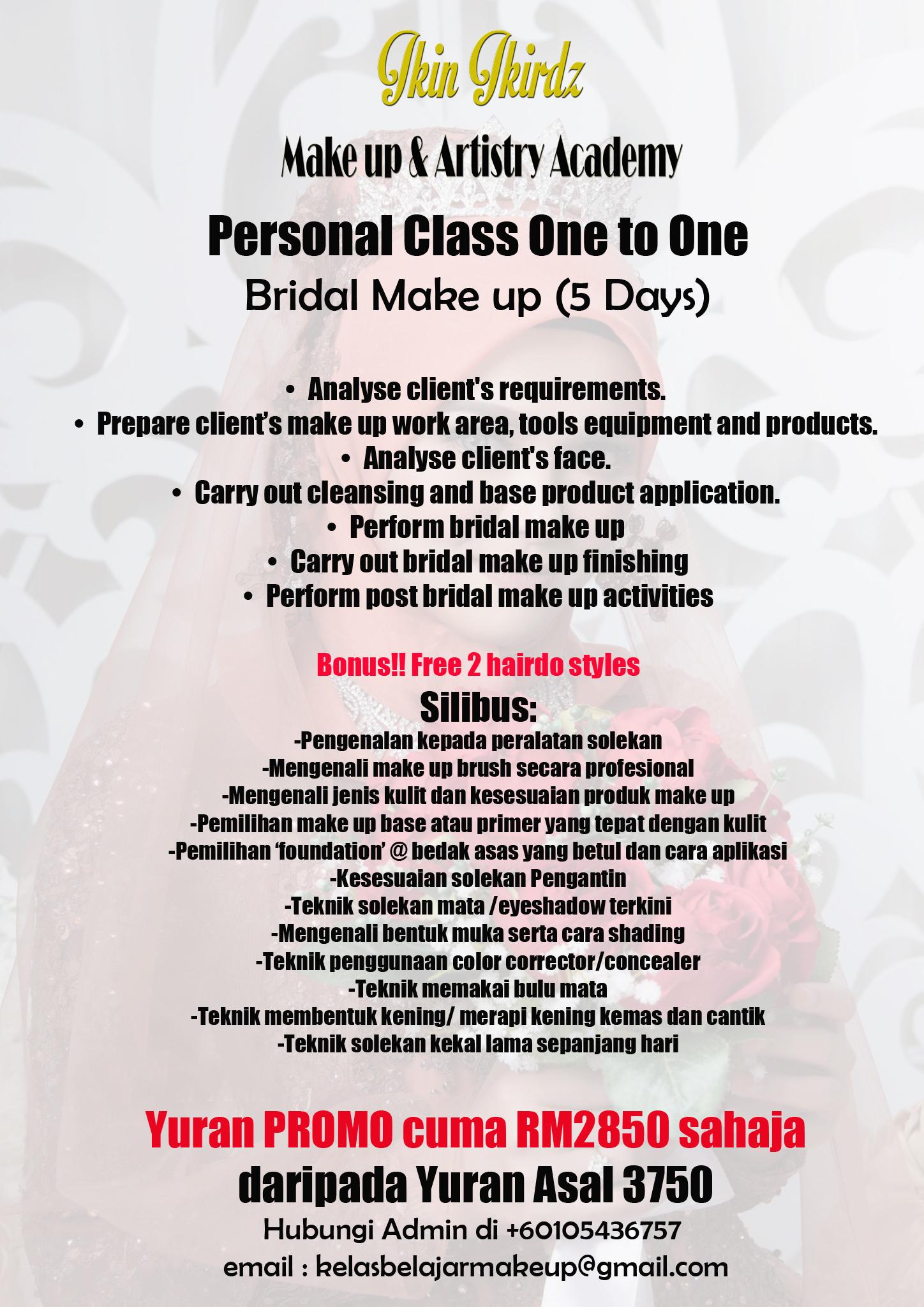 personal class murah make up pengantin pakej 5 hari